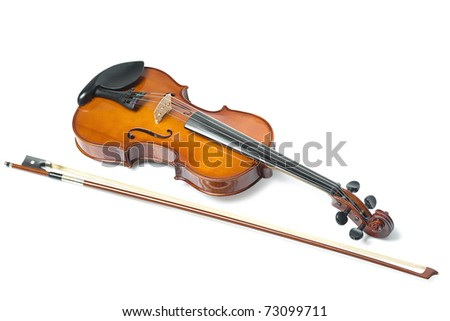 Violin isolate - stock photo