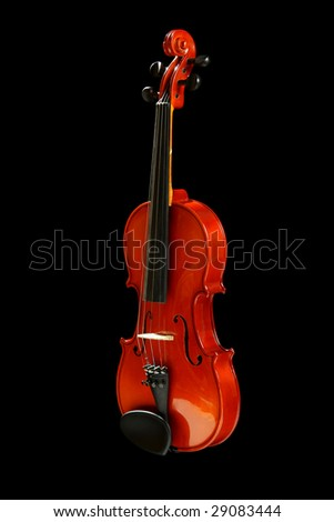 Violin, isolated on black background