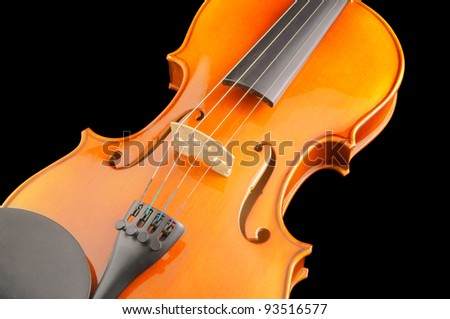 Violin isolated on black background