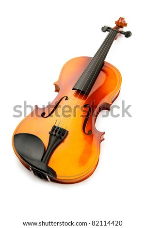 Violin isolated on the white - stock photo