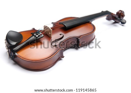 violin isolated on white - stock photo