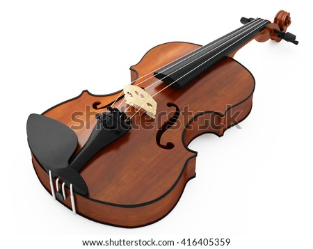 Violin isolated on white background.3D illustration