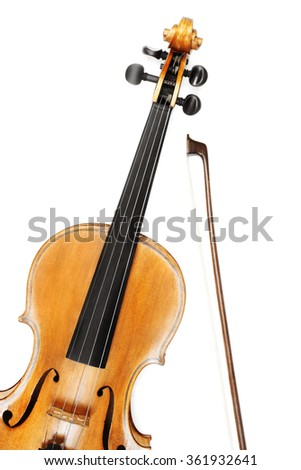 Violin isolated on white background Violin with bow music instrument of orchestra.  - stock photo