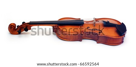 Violin isolated over white background - stock photo