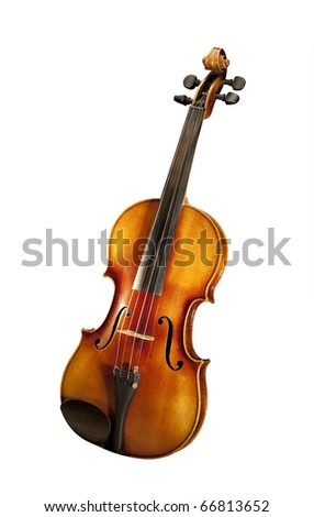 Violin, isolated with clipping path - stock photo