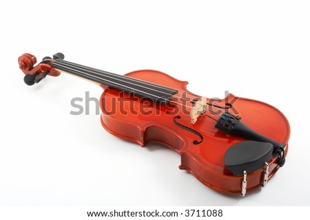 Violin lying down on white background, top angle view, horizontal, landscape orientation - stock photo