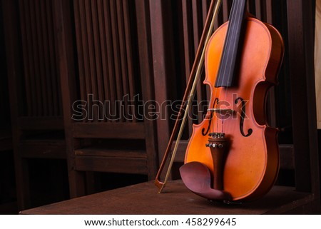Violin music instrument of orchestra - stock photo