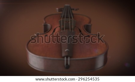 Violin music instrument of orchestra closeup 3D rendering - stock photo