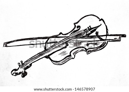 Violin musical instrument pencil drawing classical art music style sketch