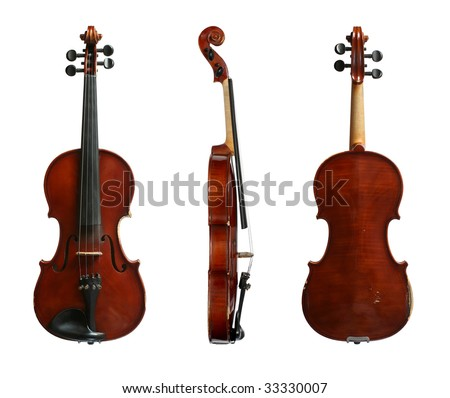 Violin on a white background in three projections. The top view, sideways and from below. - stock photo