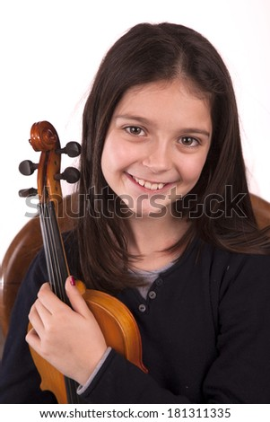 Violin on a white background with copy space - stock photo