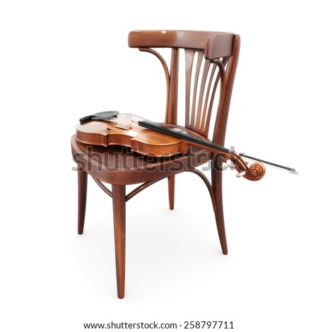 Violin on Bistro chair - stock photo