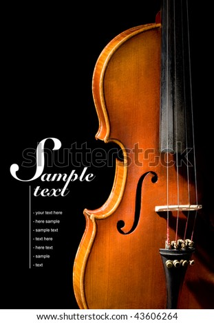 Violin on black background (easy to remove the text) - stock photo