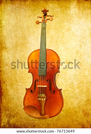 violin on grunge background - stock photo