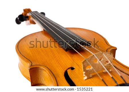 Violin on white background - abstract music concept - stock photo