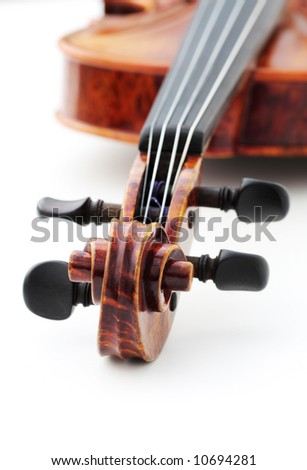 violin on white, shallow depth of field