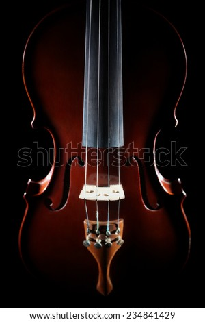 Violin orchestra musical instruments Closeup violin isolated on black - stock photo
