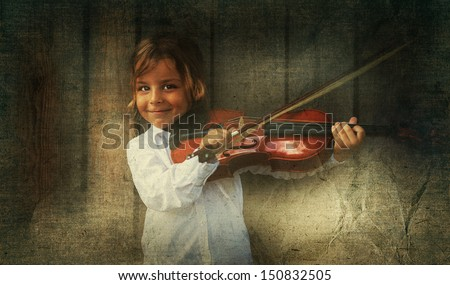 violin player aged paper texture - stock photo