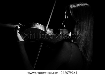 Violin player violinist classic Music instrument of orchestra - stock photo