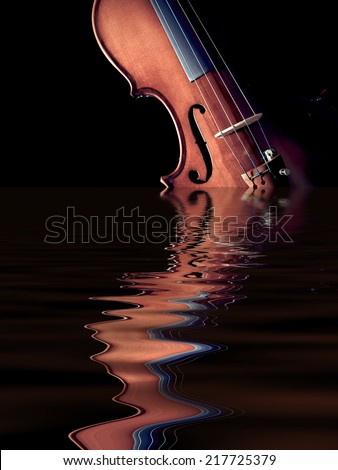 violin rising from the water, isolated on black / concept : music was originated from nature - stock photo