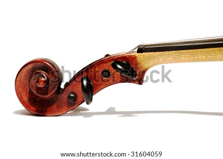 violin scroll isolated on white background