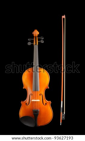 Violin with bow isolated on black background - stock photo
