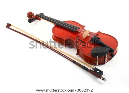 Violin with bow on side on white background, top, angled view - stock photo