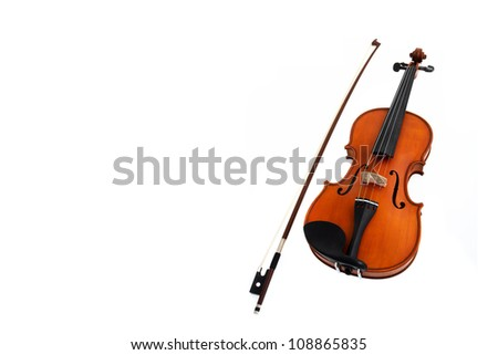 Violin with fiddle stick isolated on white - stock photo