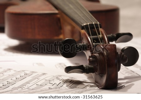 violin with note background - stock photo