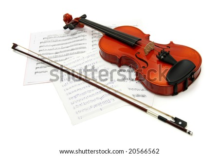 Violin with notes and bow, white background - stock photo