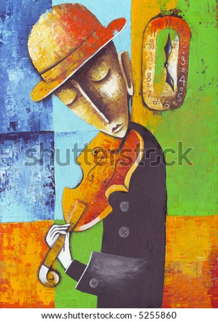 Violinist and clock. Illustration by Eugene Ivanov. - stock photo