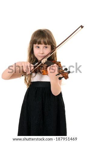 violinist playing the violin. photo session in studio on white background - stock photo