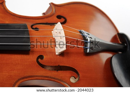 Violins on white background. Soft focus