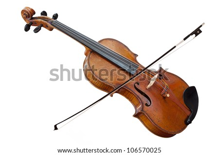 violoncello with fiddlestick isolated under the white background - stock photo