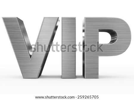 VIP metal - 3d letters isolated on white, front view - stock photo