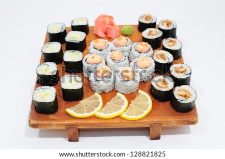 VIP Roll Unagi Hotate (eel, comb, crab weight) - stock photo