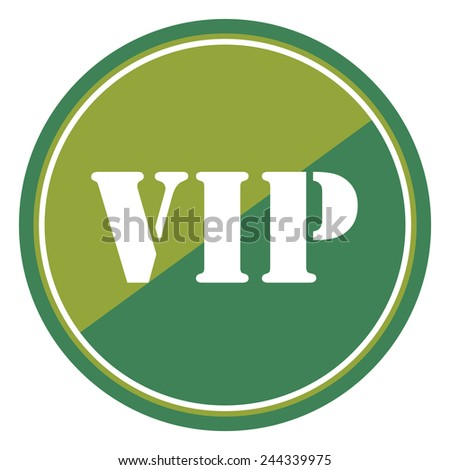 VIP sign on green circle icon, button, label isolated on white  - stock photo
