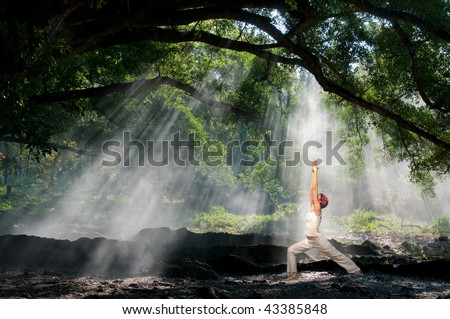 virabhadrasana, hatha yoga in the morning with sun ray through the tree branches - stock photo