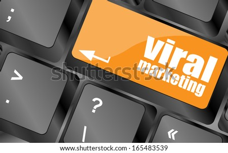 viral marketing word on computer keyboard key, raster - stock photo