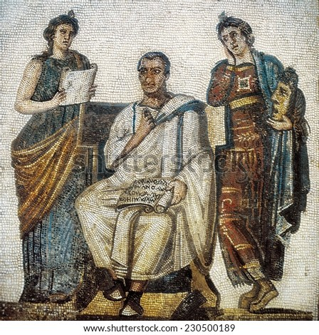 Virgil and the Muses, 3rd c. Roman art, Mosaic, TUNISIA
