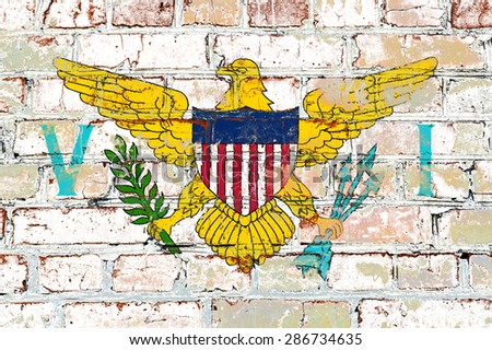 Virgin Islands flag painted on old brick wall texture background - stock photo