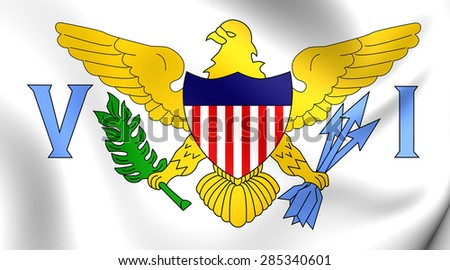 Virgin Islands of the United States 3D Flag. Close Up. - stock photo