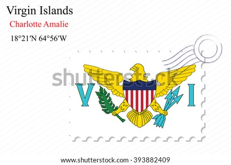 virgin islands stamp design over stripy background, abstract art illustration, image contains transparency