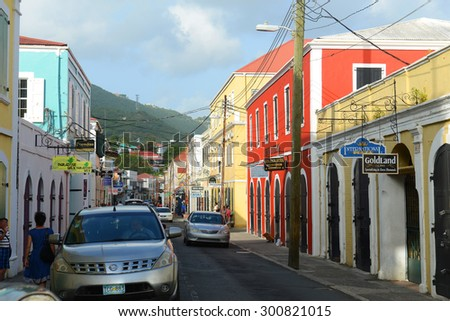 VIRGIN ISLANDS, USA - MAY 29: Dronningens Gade, the main street of historic downtown on May 29, 2014 in Charlotte Amalie on Saint Thomas Island, US Virgin Islands, USA. - stock photo