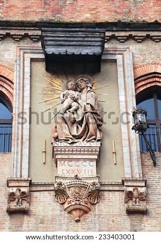 Virgin Mary and Jesus Christ, Bologna - stock photo