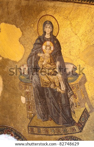 Virgin Mary and Jesus Christ Mosaic in Hagia Sophia Mosque, Istanbul Turkey - stock photo