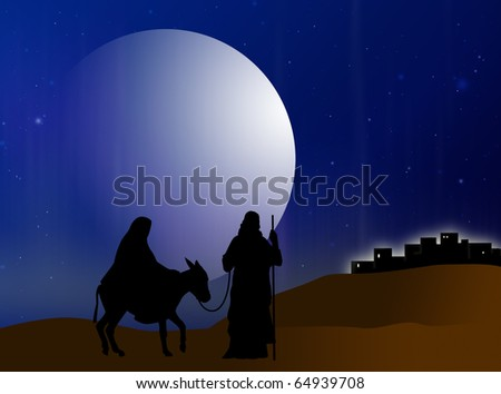 Virgin Mary and Joseph are on track to Belem - stock photo