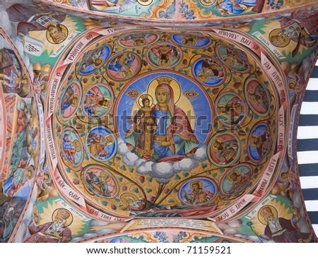 Virgin Mary, Ceiling of Rila Monastery, Bulgaria - stock photo