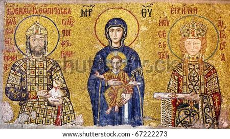 Virgin Mary holding the Christ Child. Byzantine mosaic art. - stock photo