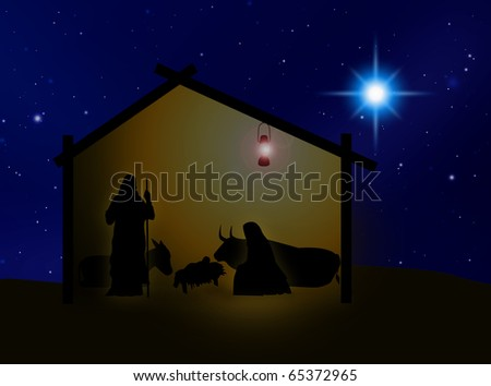 Virgin Mary, Joseph and Jesus in Belem - stock photo